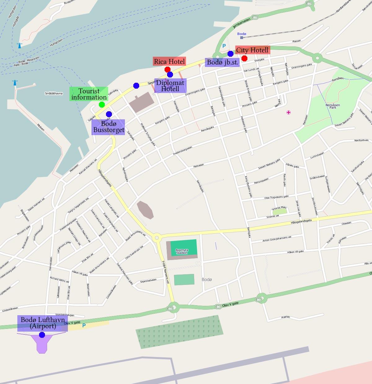 kart over bodø sentrum Hvordan finne veien til Birkeli kart over bodø sentrum
